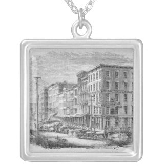 Raising a block of buildings in Chicago Silver Plated Necklace