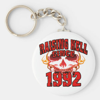 Raising Hell since 1992.png Basic Round Button Key Ring