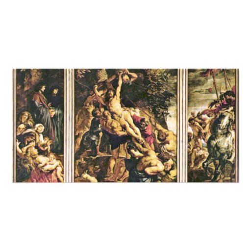 Raising Of The Cross Triptych Overview Scene From Picture Card