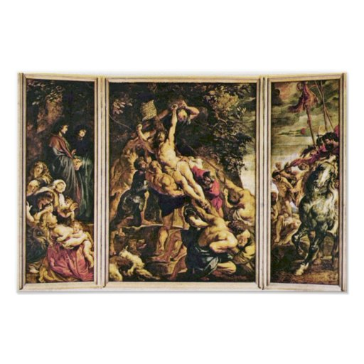 Raising Of The Cross Triptych Overview Scene From Print