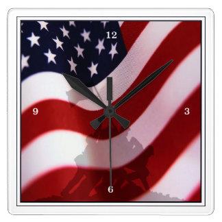 Raising the Flag at Iwo Jima WW2 Square Wall Clock