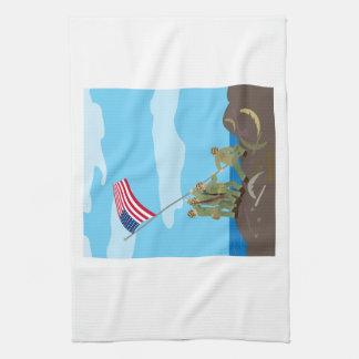 Raising the Flag on Iwo Jima (Simple History) Tea Towel