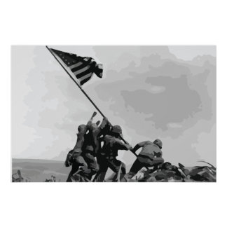 Raising the Flag on Iwo Jima vintage poster
