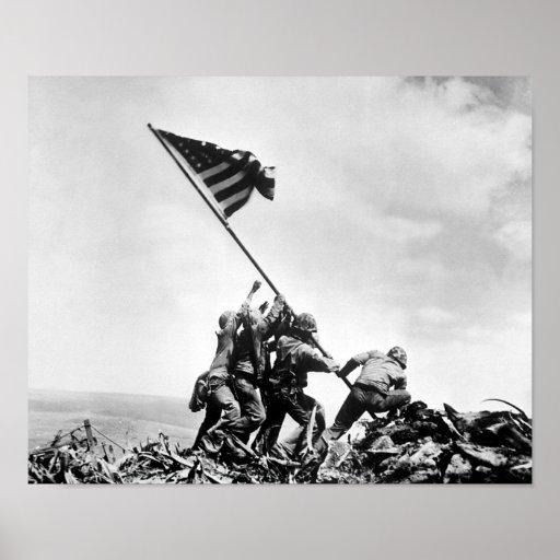 Raising The Flag On Iwo Jima -- WW2 Poster