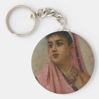 Raja_Ravi_Varma,_The_Parsee_Lady Basic Round Button Key Ring