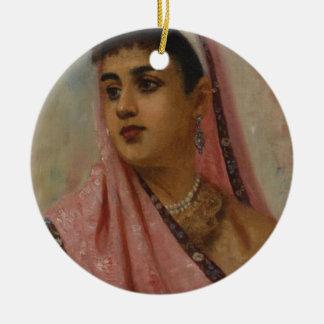 Raja_Ravi_Varma,_The_Parsee_Lady Round Ceramic Decoration