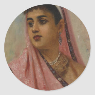 Raja_Ravi_Varma,_The_Parsee_Lady Round Sticker