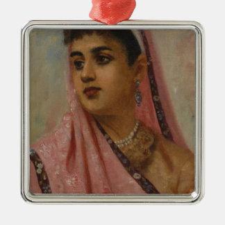 Raja_Ravi_Varma,_The_Parsee_Lady Silver-Colored Square Decoration