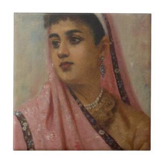 Raja_Ravi_Varma,_The_Parsee_Lady Small Square Tile