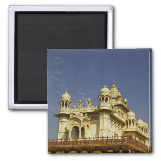 Rajasthan, India A woman standing at and accient Square Magnet