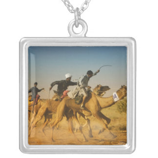 Rajasthan, India camel races in the Thar Desert Square Pendant Necklace