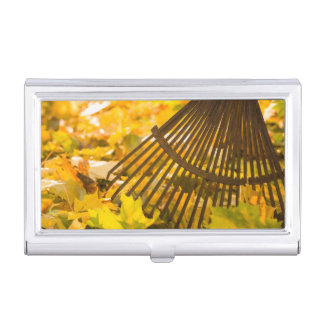 Rake And Leafs Business Card Holder