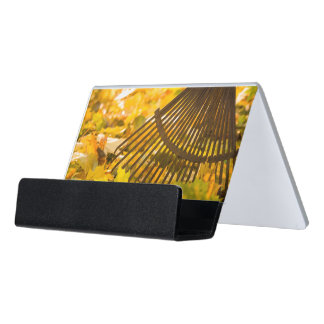 Rake And Leafs Desk Business Card Holder