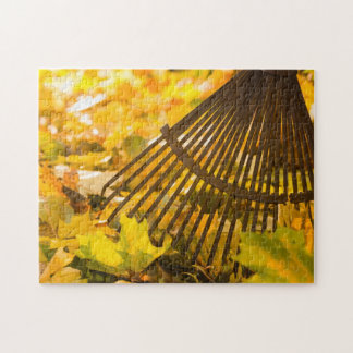 Rake And Leafs Jigsaw Puzzle