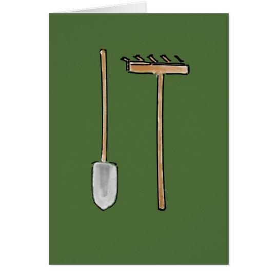 Rake and Spade Greeting Card