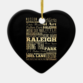 Raleigh City of North Carolina State Typography Christmas Ornament