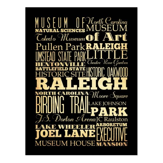 Raleigh City of North Carolina State Typography Postcard