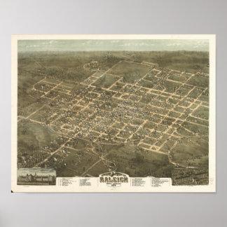 Raleigh N. Carolina 1872 Antique Panoramic Map Poster