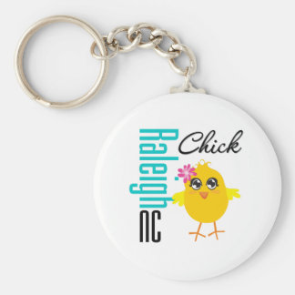 Raleigh NC Chick Basic Round Button Key Ring