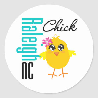 Raleigh NC Chick Round Stickers
