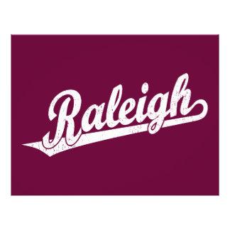 Raleigh script logo in white distressed custom flyer