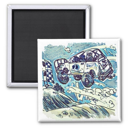 rally car is flying high cartoon magnet