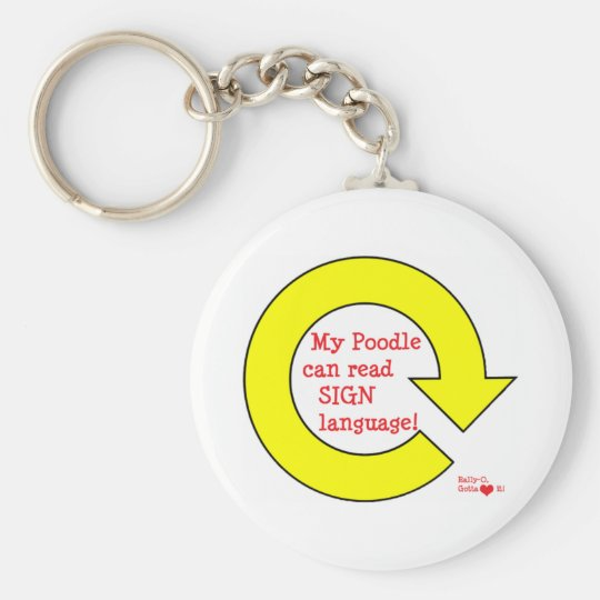 Rally poodle basic round button key ring