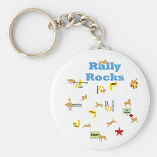 Rally Rocks Basic Round Button Key Ring