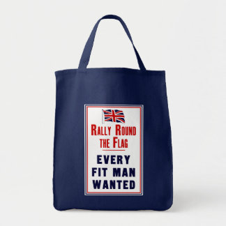 Rally Round The Flag ~ Every Fit Man Wanted Grocery Tote Bag