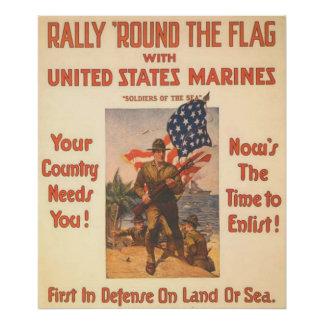 Rally 'Round The Flag-US Marines Poster