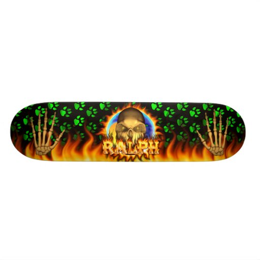 Ralph skull real fire and flames skateboard design