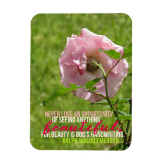 Ralph Waldo Emerson Opportunity Pink Rose Magnet
