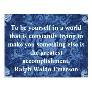 Ralph Waldo Emerson QUOTATION  inspirational Postcard