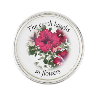 Ralph Waldo Emerson quote with pink petunias Lapel Pin