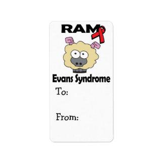RAM Evans Syndrome Address Label