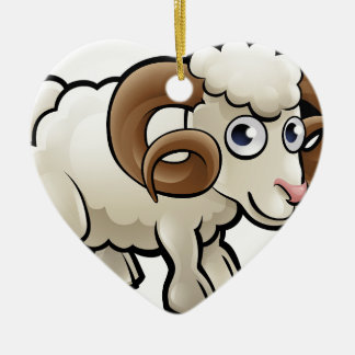 Ram Farm Animals Cartoon Character Ceramic Heart Decoration