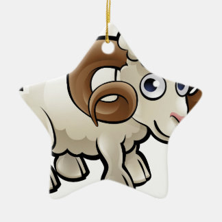 Ram Farm Animals Cartoon Character Ceramic Star Decoration