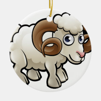 Ram Farm Animals Cartoon Character Round Ceramic Decoration