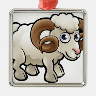 Ram Farm Animals Cartoon Character Silver-Colored Square Decoration