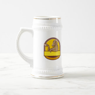 Ram Goat Drinking Coffee Crest Drawing Beer Steins