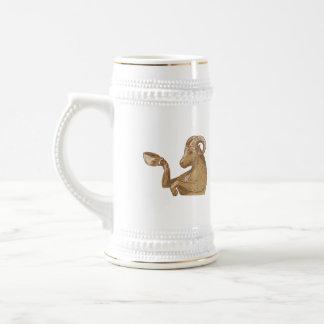 Ram Goat Drinking Coffee Drawing Beer Steins