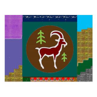 RAM Goat Symbol Animal Zodiac Astrology goodluck Postcard