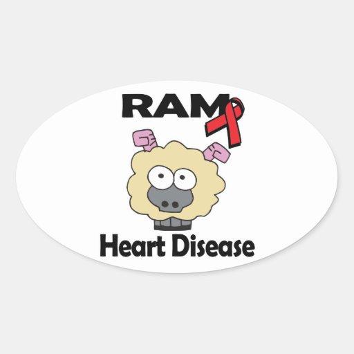 RAM Heart Disease Oval Stickers