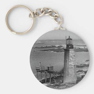 Ram Island Ledge Lighthouse Basic Round Button Key Ring
