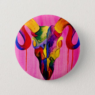 Ram skull colourful painting badge