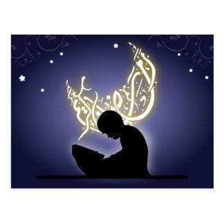 Ramadan kareem child reading quran islam postcards