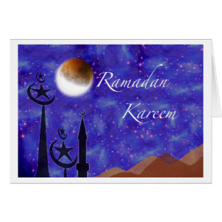 Ramadan Kareem, Crescent Moon and Minarets Greeting Card