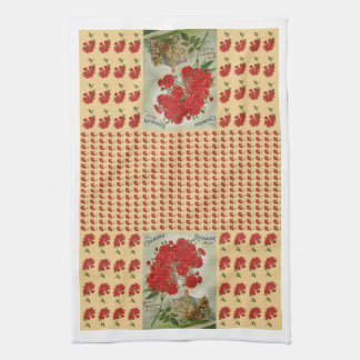 Rambling Rose Red Beige Vintage Kitchen Tea Towel