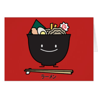 Ramen Bowl chopstick pork seaweed Japanese noodles Card