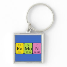 Keyring featuring the name Ramon spelled out in symbols of the chemical elements